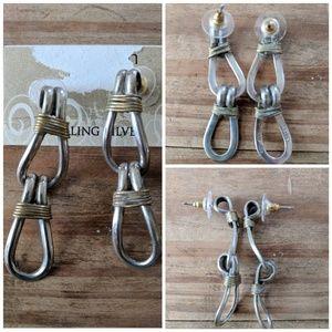Sterling Silver Earrings 925 .4 oz Mex S-55 2tone